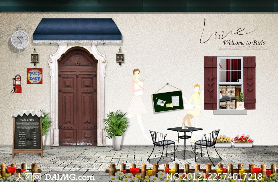 psd咖啡厅风景; 韩国街头风景素材;