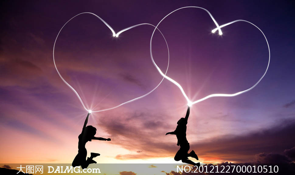情人节双心烟花设计图片素材