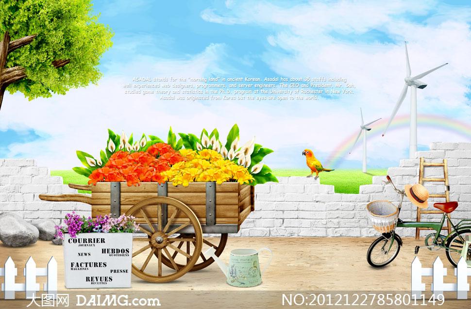 鲜花花朵花卉洒水壶自行车帽子草帽篮子木梯子篱笆栅栏小车石头大树