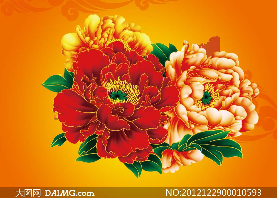 牡丹牡丹花鲜花花朵花卉花纹富贵花绿叶祥云