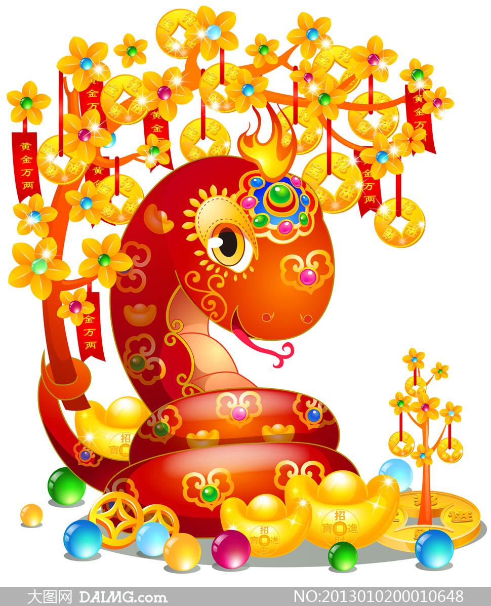 喜庆的卡通蛇设计图片素材