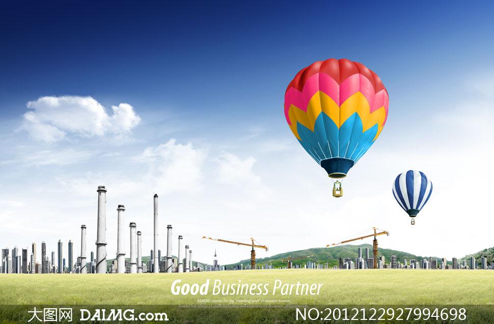 云彩多云草地草坪绿地田园春天田野烟囱工厂热气球